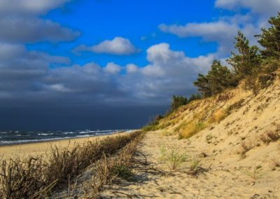 Wydmy na plaży przy morzu w Łebie