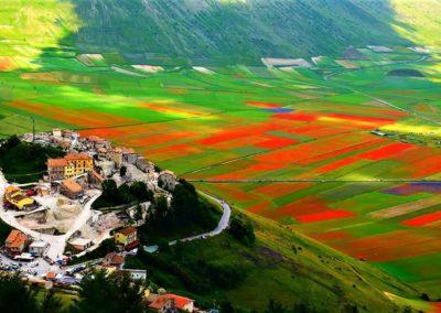 Wyjątkowa panorama kolorowych pól przy Castelluccio